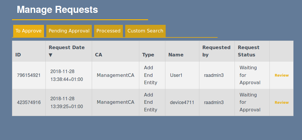 Manually Managing Certificate Request