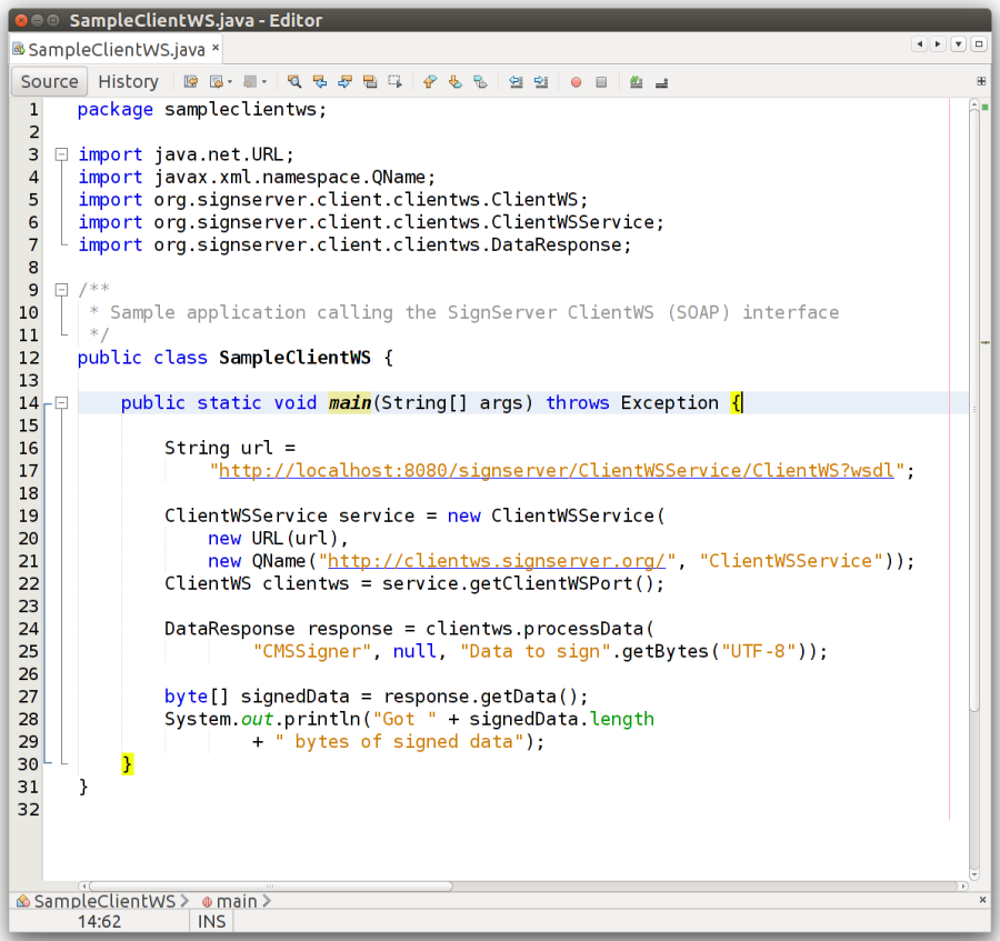 Sample Java code using the ClientWS web services (SOAP) interface